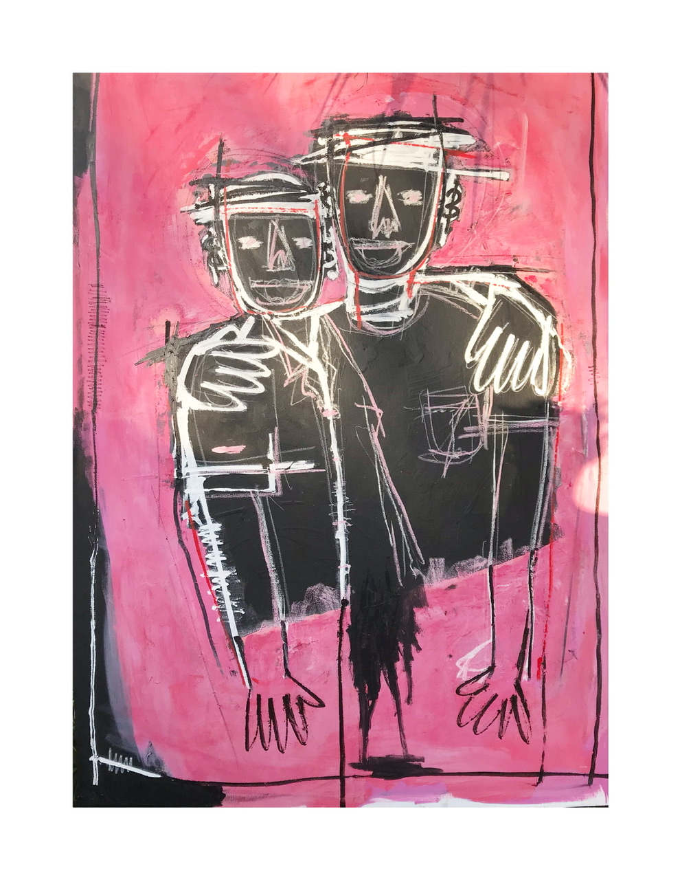 Friends II, Acrylic, oil and ink on canvas 7ftx5ft