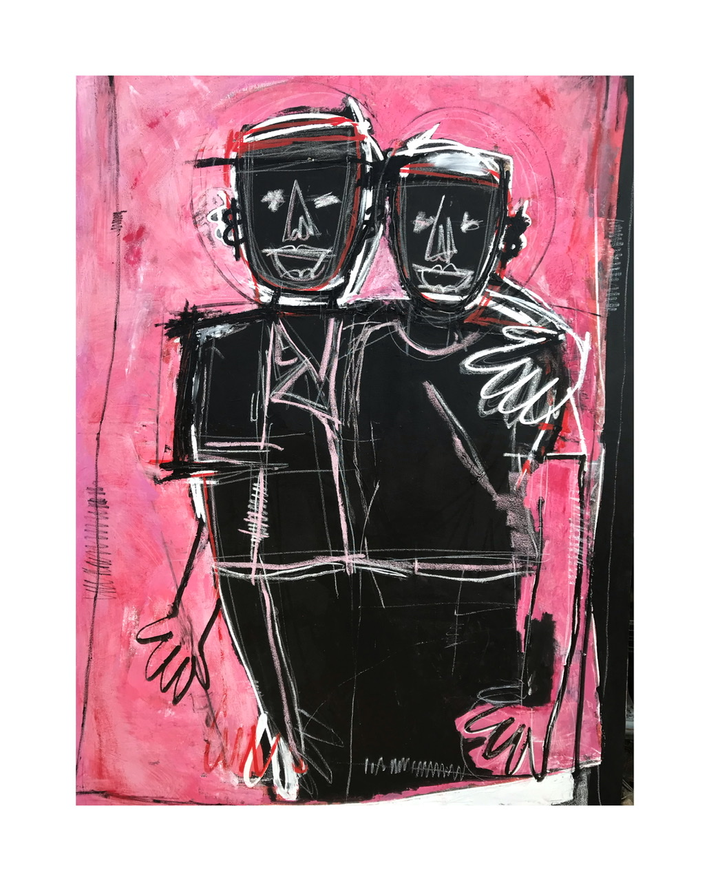 Friends I. Acrylic, oil and ink on canvas 7ftx5ft